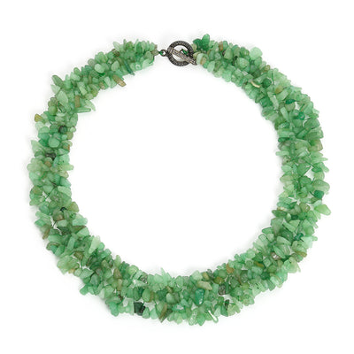 Seafoam Green Aventurine Gemstone Strand Necklace Silver Plated
