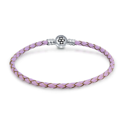 Ayllu Braid Genuine Pink Leather Bracelet For Charms Barrel Clasp