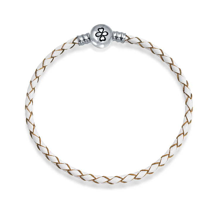 AYLLU .925 Silver Round Barrel Clasp White Leather Charm Bead Bracelet