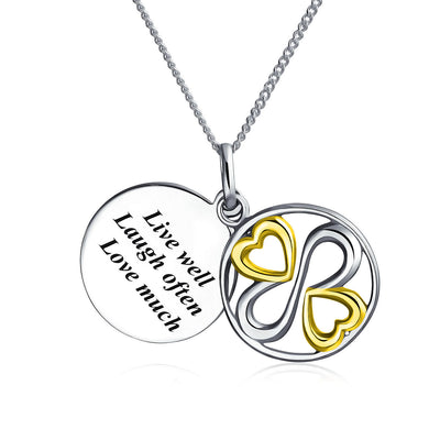 Ayllu Live Well Laugh Often Love Much Pendant Necklace Two Tone Silver