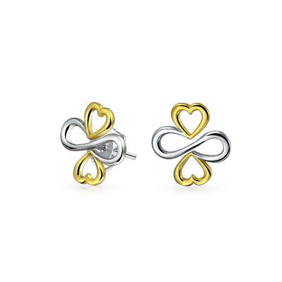 Luck Unity Infinity C14K Gold Plated Sterling Silver Stud Earrings