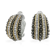 Caviar Bead Crystal Hoop Clip On Earrings Ears Black Gold Plated