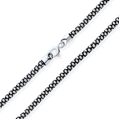 Bali Style Popcorn Coreana Chain Black Sterling Silver Made In Italy