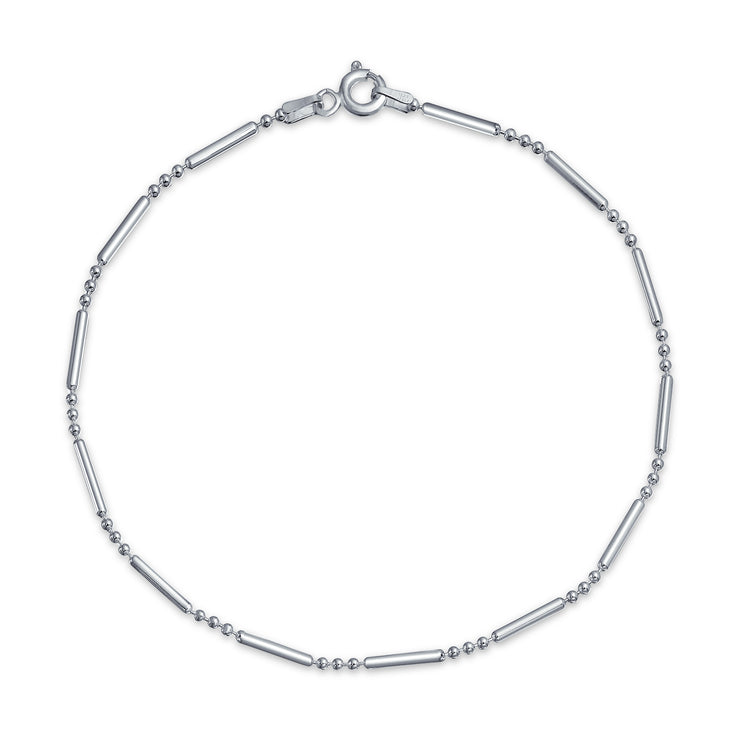 Bar Ball Chain Anklet Charm Hot wife Ankle Bracelet Sterling Silver