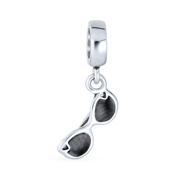 Black Movie Star Sunglasses Sterling Silver Dangle Travel Bead Charm