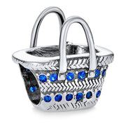 Picnic Basket Sunglasses Blue Travel Charm Bead 925 Sterling Silver