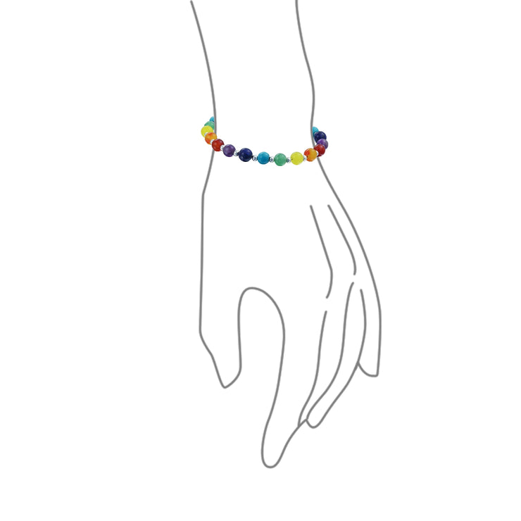 Multicolor Colorful Gemstone Charka Beads Bracelet 925 Sterling Silver