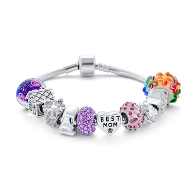 Wife Best MOM Mother Colorful Family Beads Starter Charms Bracelet