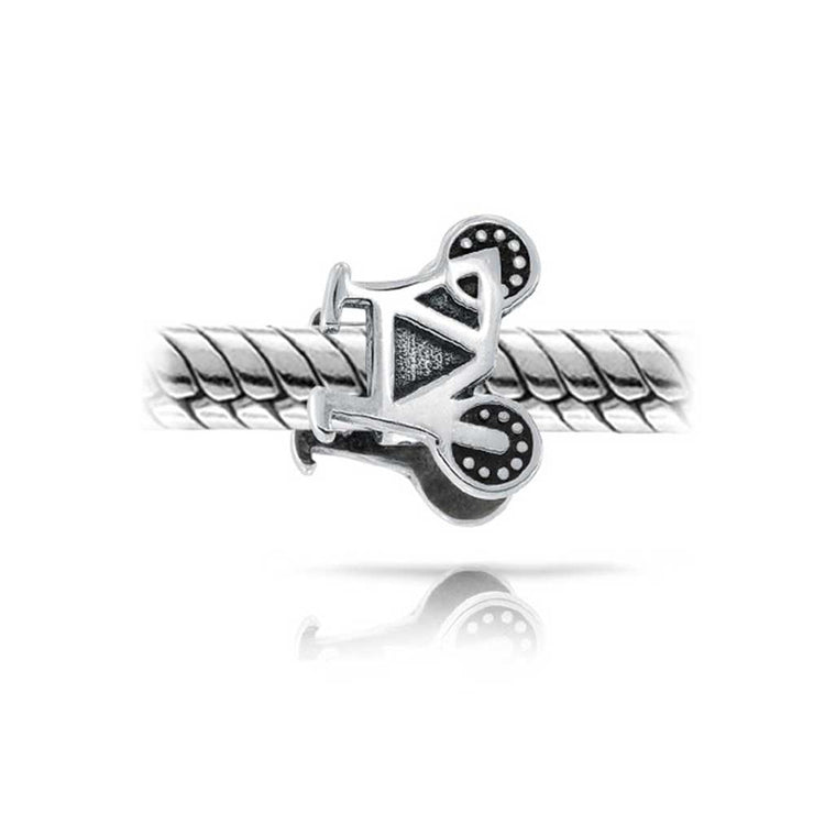 Sports Bike Biker Bicycle Charm Bead 925 Sterling Silver