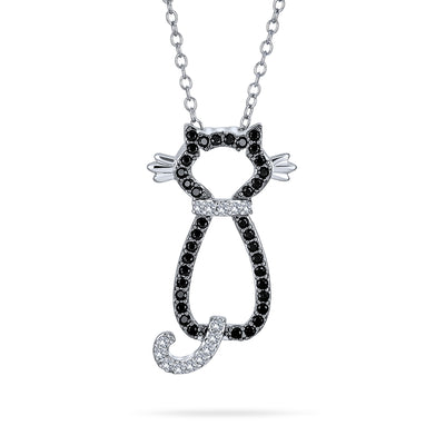 Black Kitty Kitten Cat Pendant CZ Necklace 2 Tone Plated Silver Tone
