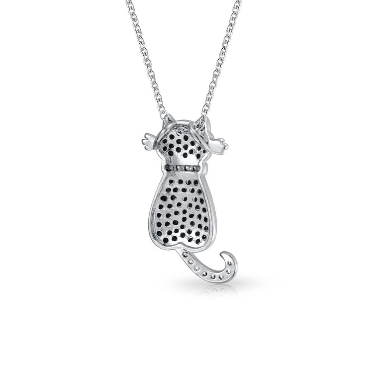 Black Kitty Kitten Sitting Cat Pendant CZ Necklace Plated Silver Tone