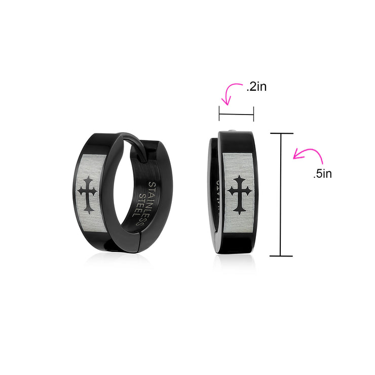Laser Fleur De Lis Black Huggie Hoop Earrings Plated Stainless Steel
