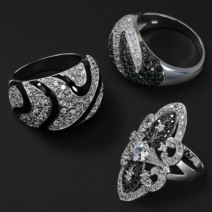 Black White CZ Filigree Wide Armor Full Finger Ring Silver Plated