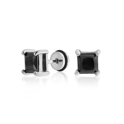 Black Square Ear Faux Plug Princess Cut CZ Steel 16 Gauge Screwback