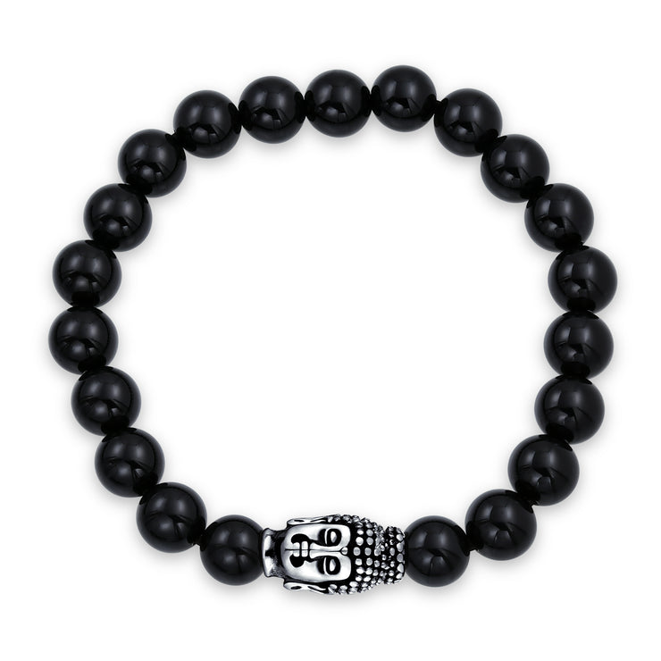 Buddha Black Onyx Bead Strand Stretch Beads Bracelet Silver Plated