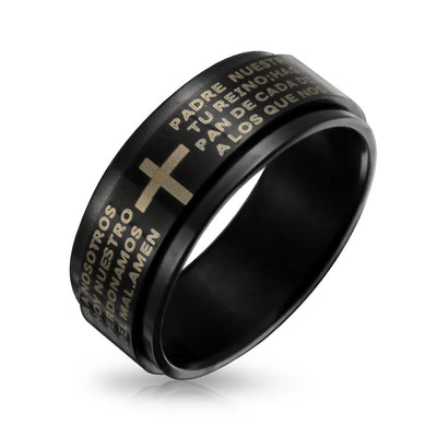 Padre Nuestro Lords Pray Cross Black Spinner Band Ring Stainless Steel