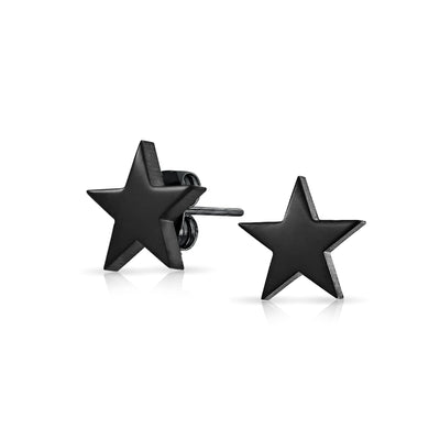 Patriotic Celestial Star Stud Earrings Black Stainless Steel 10MM