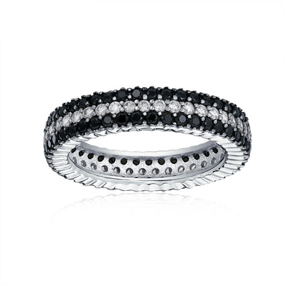 Two Tone Black and White Pave Eternity Band Ring 925 Sterling Silver