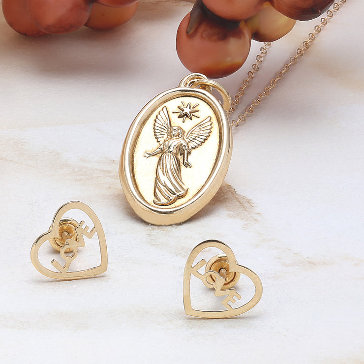 14K Yellow Real Gold Religious Medal Guardian Angel Pendant Necklace