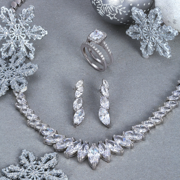 Vintage Bridal AAA Marquise CZ Collar Statement Necklace Earrings Set