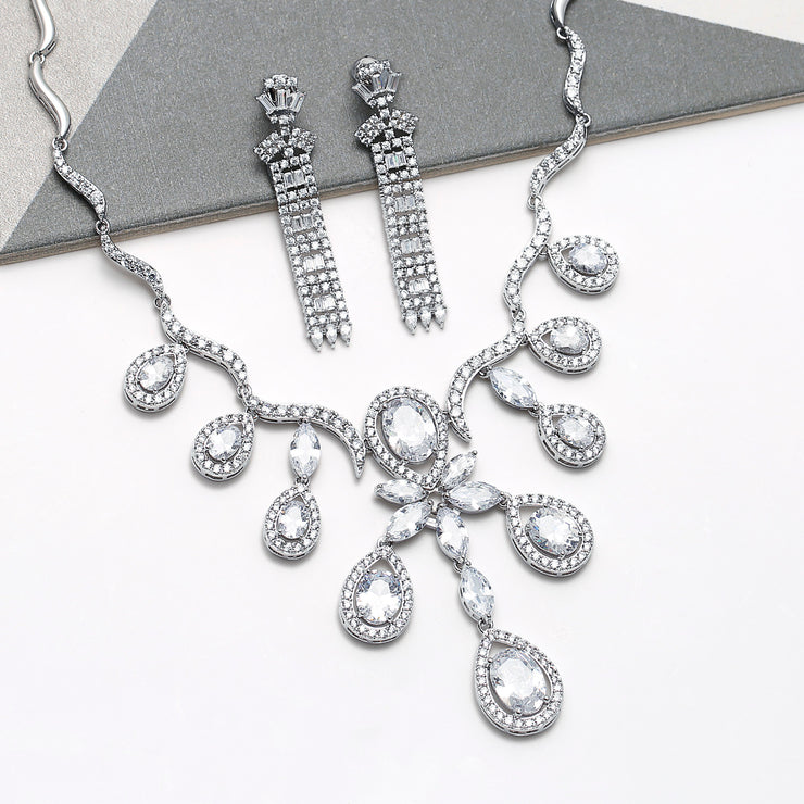 Asian Bride CZ Column Statement Chandelier Earrings Silver Plated
