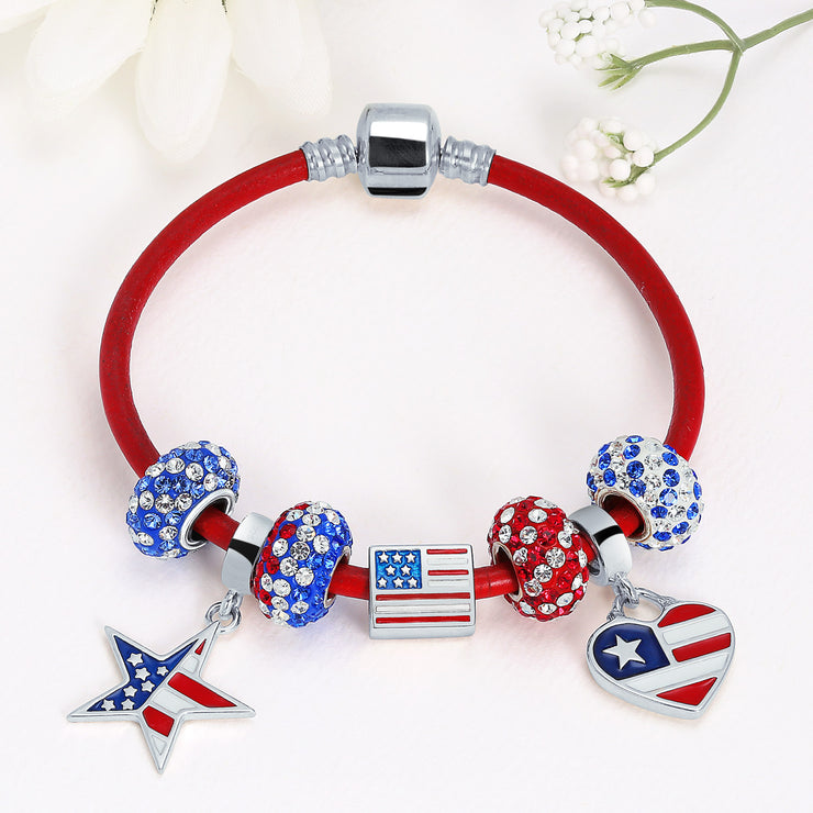 Red White Blue Patriotic Stripe Crystal Bead Charm 925 Sterling Silver