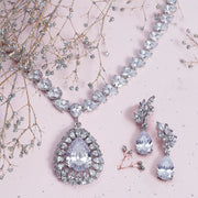 Bride Prom Teardrop CZ V Collar Statement Necklace Silver Plated Brass