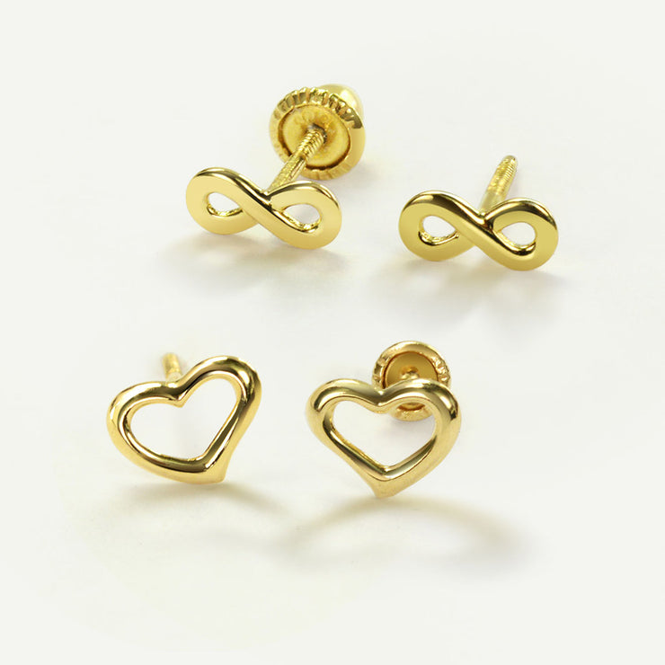 Tiny Infinity Symbol Stud Earrings Real 14K Yellow Gold Screwback