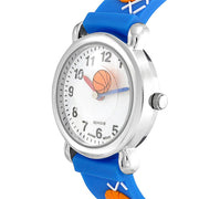 Basketball Sports Waterproof Wrist Watch Quartz 3D Blue Silicone Round
