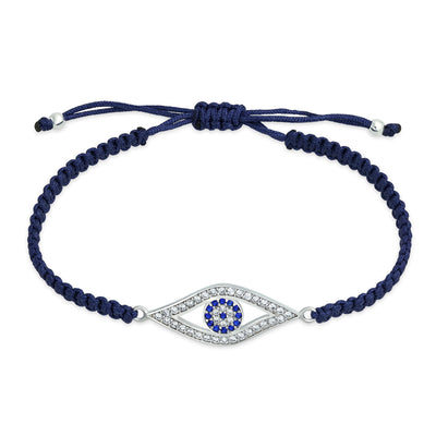 Turkish Blue Evil Eye Black Braided Cord Bracelets CZ Sterling Silver