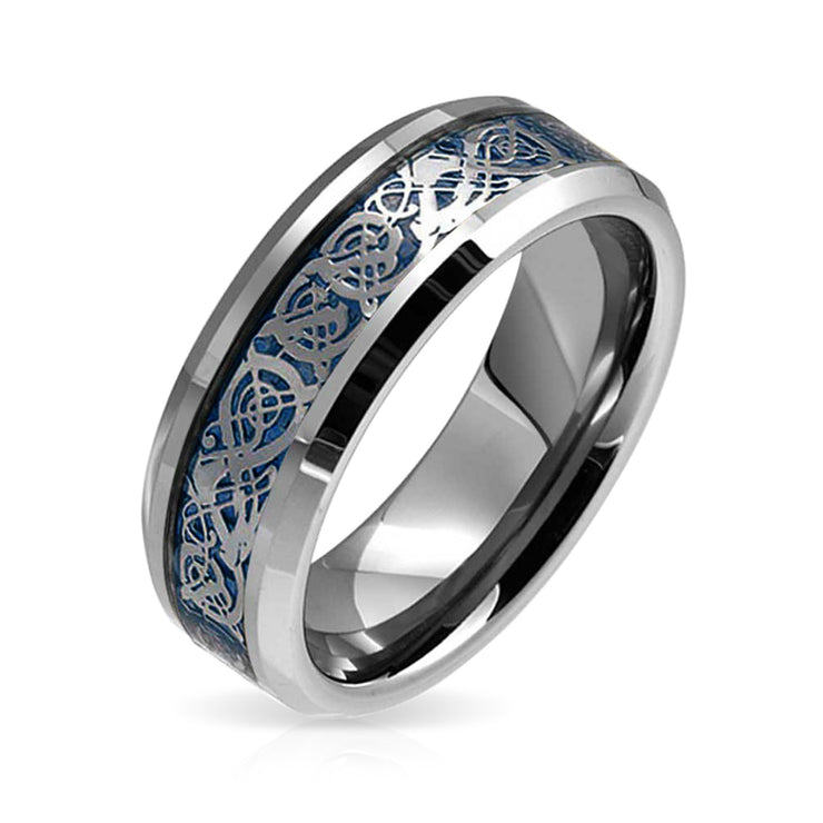 Blue Celtic Knot Dragon Inlay Wedding Band Tungsten Ring For Men 8MM