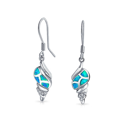 Blue Created Opal Dangle Earrings Fish Wire 925 Sterling Silver