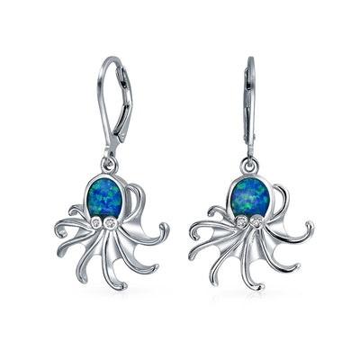 Blue Created Opal Leverback Octopus Earrings 925 Sterling Silver