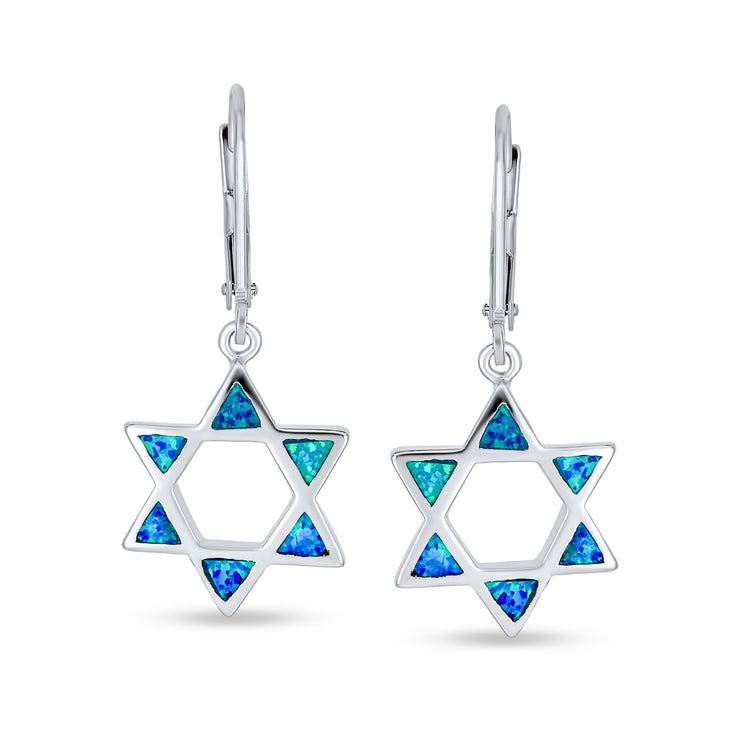 Blue Created Opal Je Star of David Drop Earrings 925 Sterling Silver