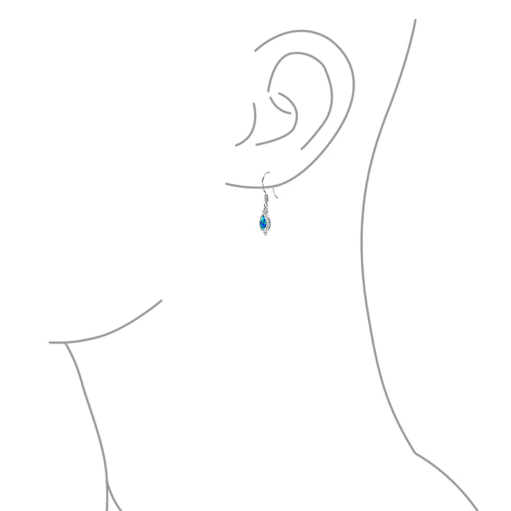 Cable Style Teardrop Blue Created Opal Drop Earrings Sterling Silver