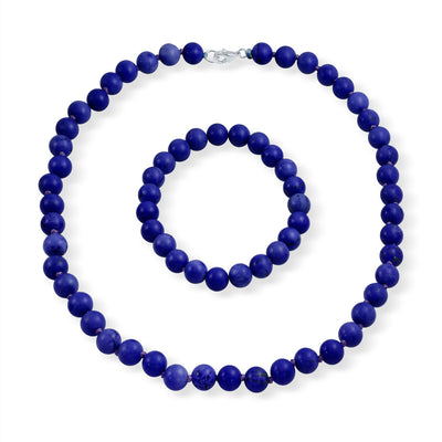 Blue Ball Beads Simulated Lapis Strand Necklace Stretch Bracelet Set