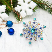 Christmas Large Crystal Blue Winter Snowflake Brooch Pin