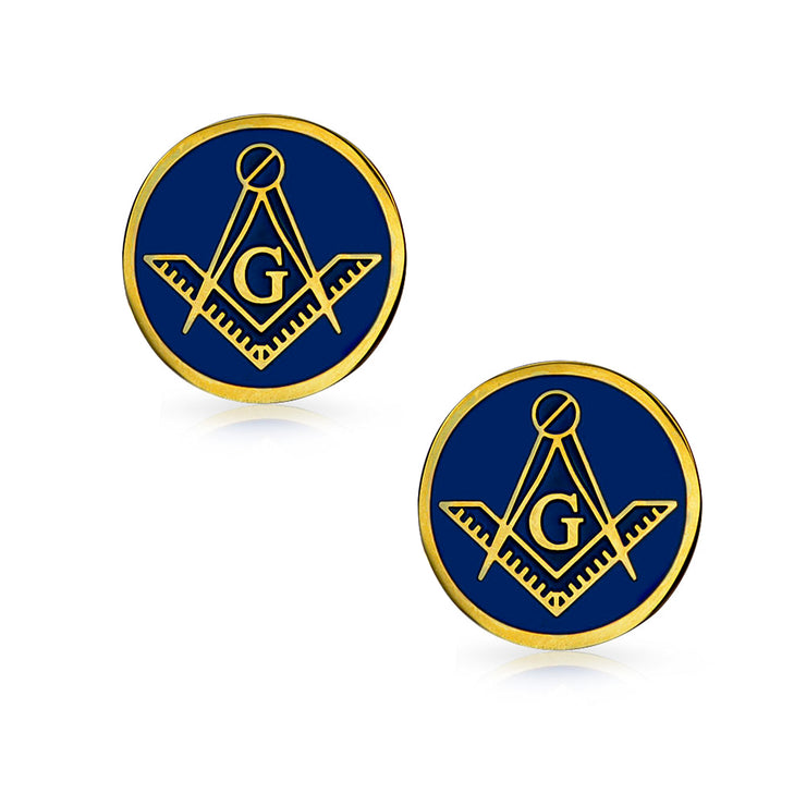 Freemasons Masonic Compass Blue Cufflinks Gold Plated Stainless Steel