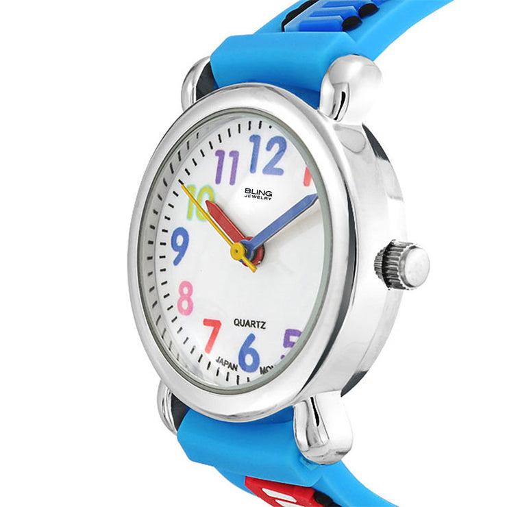 Train Waterproof Wrist Watch Time Quartz 3D Blue Silicone Dial