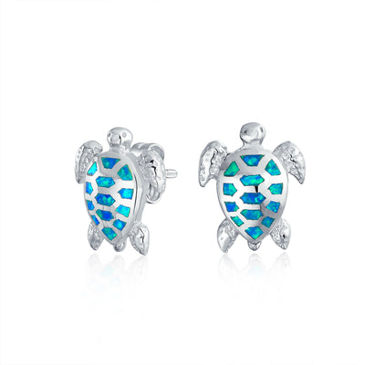 Blue Created Opal Sea Tortoise Turtle Stud Earrings Sterling Silver