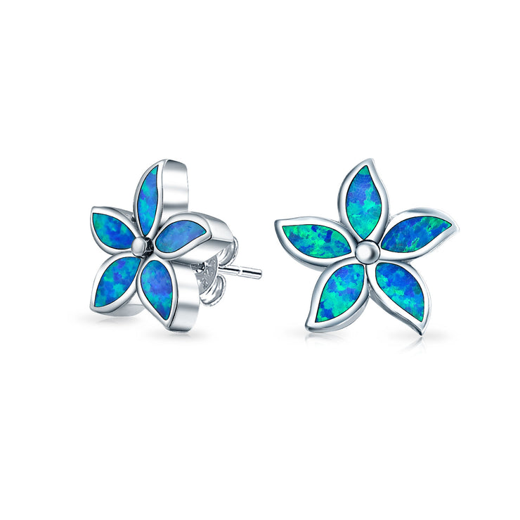 Blue Created Opal Inlay Flower Stud Earrings 925 Sterling Silver