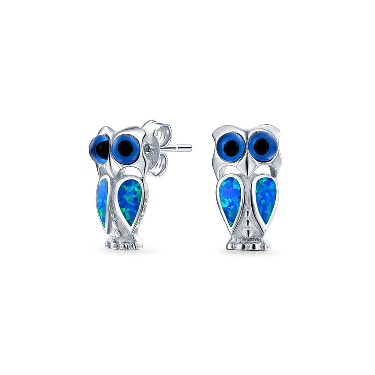 Blue Created Opal Eye Wise Owl Bird Stud Earrings Sterling Silver