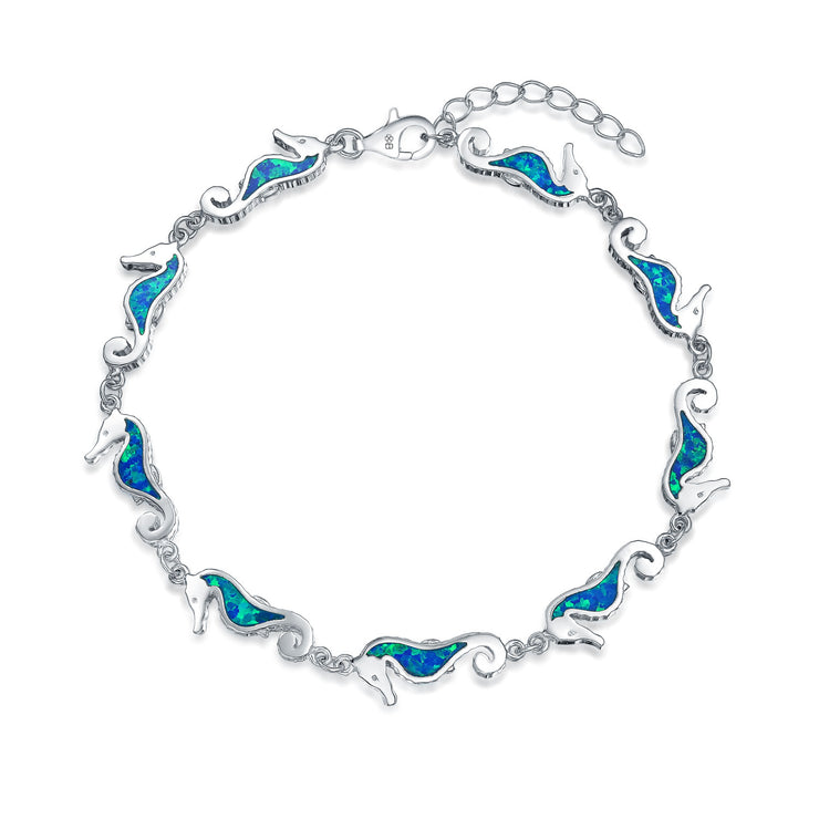 Nautical Seahorse Blue Created Opal Charm Bracelet 925 Sterling Silver