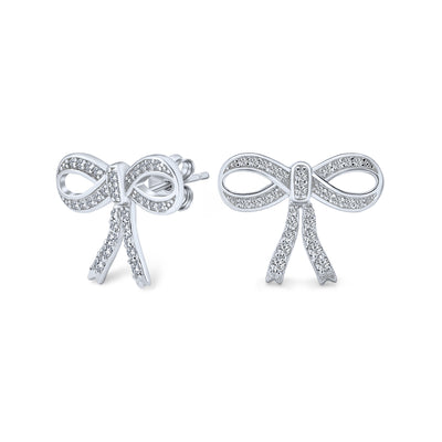 Dainty Cubic Zirconia Pave CZ Bow Stud Earrings 925 Sterling Silver