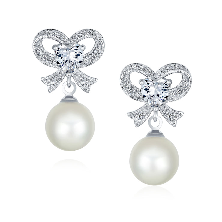Bridal Ribbon Bow CZ White Imitation Pearl Earrings Silver Plated