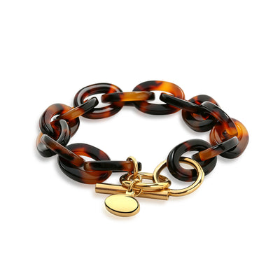 Brown Golden Tortoise Shell Chain Bracelet Gold Plated Stainless Steel