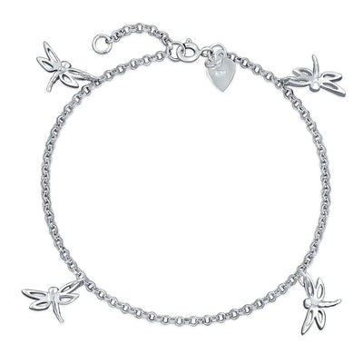 Multi Dragonfly Anklet Dangle Charm Ankle Bracelet 925 Sterling Silver