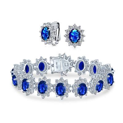 Bride Oval Shape Halo AAA CZ Bracelet Clip-on Earrings Set Silver