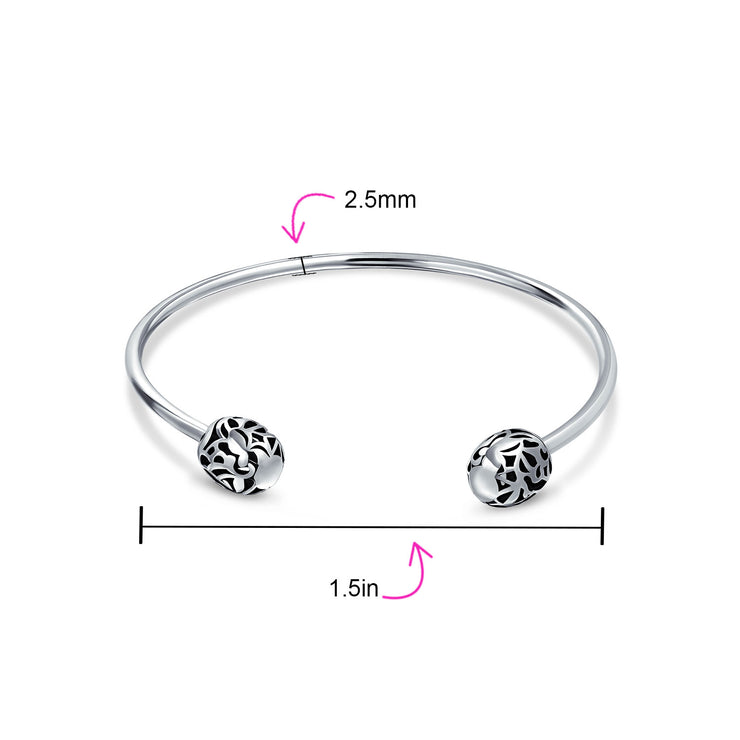 Love Screw Starter Charm Cuff Beads Bangle Bracelet Sterling Silver
