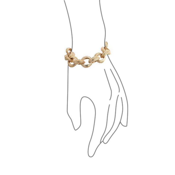 Fashion Statement Oval Chain Chunky Matt Textured Gold Plated Bracelet